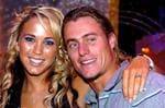 <p>Actor Bec Cartwright with fiance Lleyton Hewitt during TV showDancing with the Stars. $200,000 engagement ring clearly visible.</p>