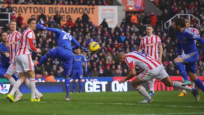 Walters heads in an own goal to give Chelsea an early lead. Picture: Getty Images