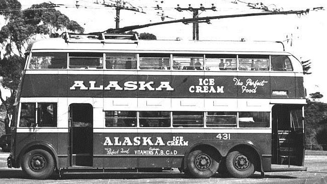 Source; Wikipedia Commons. Double Decker Trolley Bus 1940s showing the front and rear entrances. Love the old advertising for...