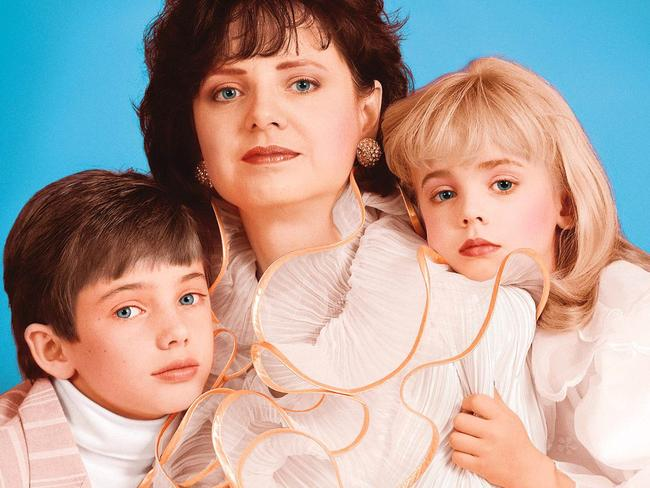 JonBenet Ramsey pictured with her mother Patsy and her brother Burke. Picture: Splash News Australia
