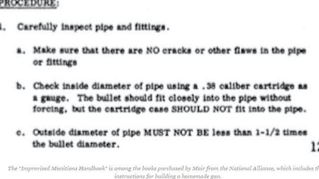 The munitions handbook included instructions on how to assemble a homemade gun. Picture: southern Poverty Law Centre.