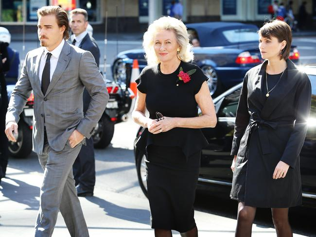 Neville Wran's son Hugo wife Jill and daughter Harriet arrive at his State Funeral. Picture: Craig Greenhill