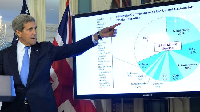 Step up ... Mr Kerry with a chart of country's financial contributions to the fight against Ebola.