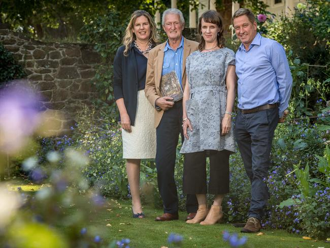 Herald & Weekly Times chairman Penny Fowler with <i></i>Cruden Farm Garden Diaries co-authors <i></i>Michael Morrison and Lisa Clausen and landscape architect Paul Bangay. Picture: Jake Nowakowski