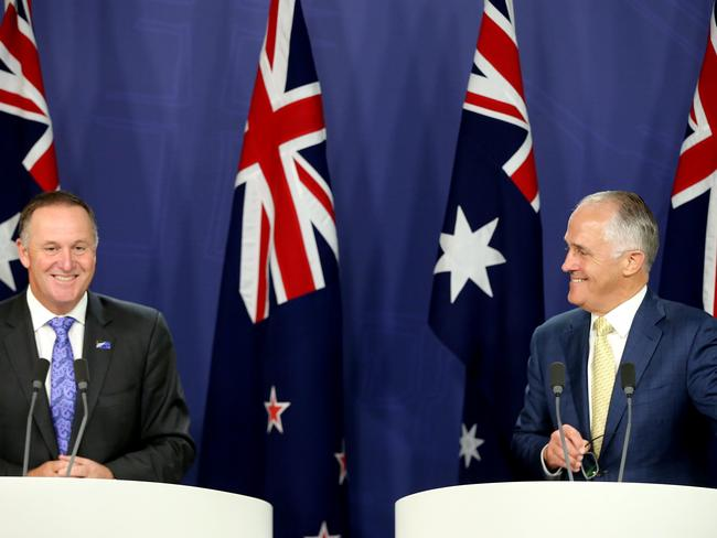 New Zealand Prime Minister John Key and Australian Prime Minister Malcolm Turnbull hold a press conference in Sydney. Picture: Stephen Cooper