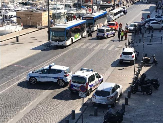 One person is dead and one injured after a car ploughed into two bus shelters in Marseille.