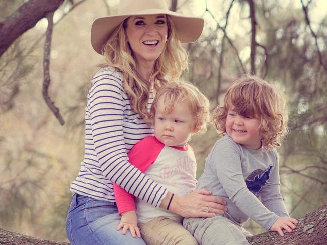 Jacinta Tynan pictured with her children Otis and Jasper.