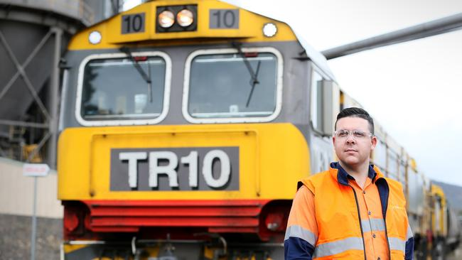 TasRail locomotive driver Jarrod Cook at the Boyer station. Picture: SAM ROSEWARNE