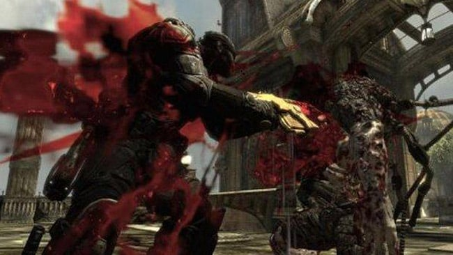 Gears of War is a gory third person shooter where you use all manner of weapons to kill aliens.