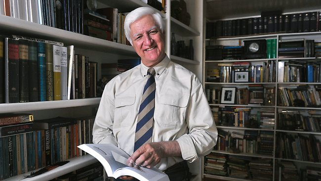 Bob Katter in one of the many libraries within his home in Charters Towers, QLD. Picture: Wesley Monts