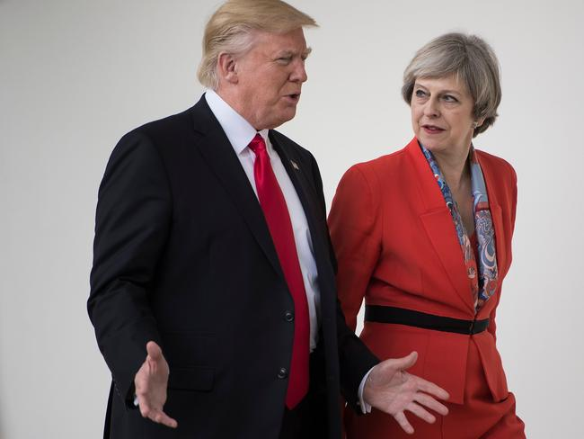 Donald Trump and Theresa May at the White House a week after his inauguration in January, 2017. Picture: AFP/Brendan Smialowski