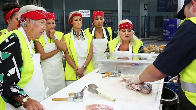 Team Supreme gets ready to get their hands dirty in preparation for the fish and chip shop challenge. Picture: Channel Nine