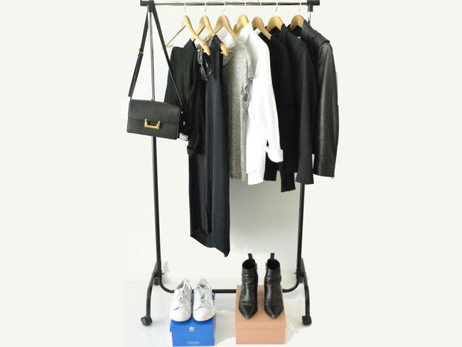 Here is Angela Yang's capsule wardrobe. It consists of a grey T-shirt (Acne Studios), white shirt (Uniqlo), black jumper (H & M), navy shift dress (COS), navy blazer (ZARA), black leather jacket (Acne Studios), black plain ankle boots (Acne Studios), White trainers (Adidas), sunglasses (Ray-Bans) and small-medium sized bag (Saint Laurent Paris).