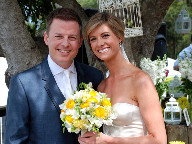 Journalists Ben Fordham and Jodie Speers on their wedding day at Seafarm in 2011. Picture: Today Show
