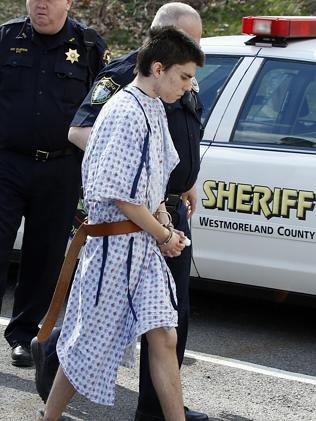 Hribal was charged after allegedly stabbing and slashing at least 19 people including students in the crowded halls of his suburban Pittsburgh high school. Picture: Keith Srakocic