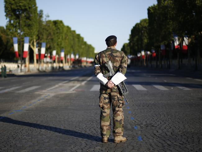 The Champs Elysee before the Bastille Day parade in Paris. Picture: AP Photo/Kamil Zihnioglu.