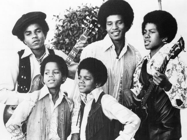 The Jackson 5 ... Michael Jackson, front right, Marlon Jackson, front left, Tito Jackson, back left, Jackie Jackson and Jermaine, back right, in Los Angeles. Picture: Supplied