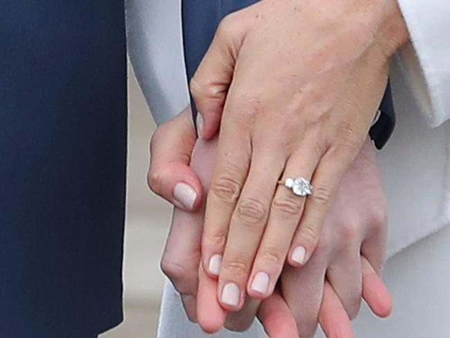 Meghan Markle's engagement ring. Picture: AFP