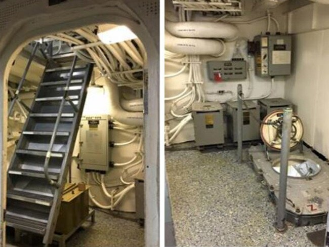 The sole means of escape for the USS Fitzgerald's sailors in Berthing 2 — a ladder and watertight scuttle 'door' to the deck above.