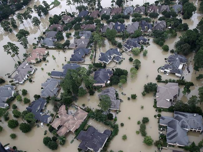 Footage from the air shows the devasation around Lake Houston. Picture: AFP