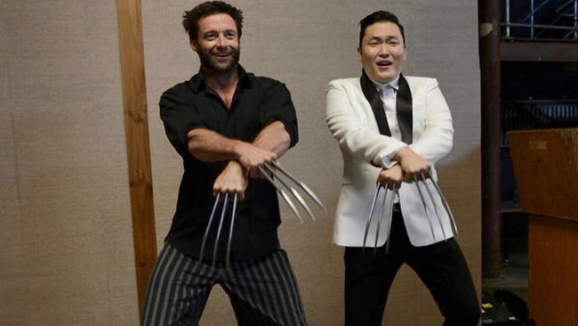 """Korean pop star Psy who has taken the world by storm with Gangnam Style, could hardly believe his luck when he got the chance to bust his unique moves with Hugh Jackman's Wolverine in Sydney. """"Had a great time with @RealHughJackman #GangnamStyleWolverine~!!! lol,"""" Psy tweeted."""