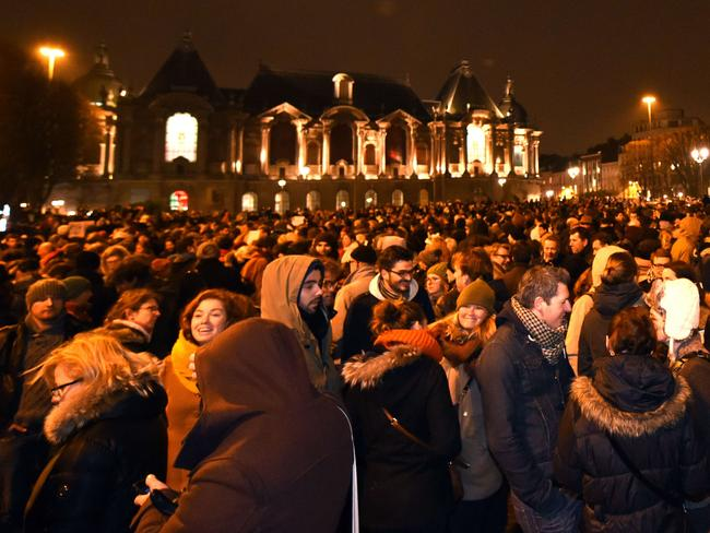 Peaceful rally ... thousands gather in front of the prefecture in Lille, northern France. Picture: AFP/ Denis Charlet