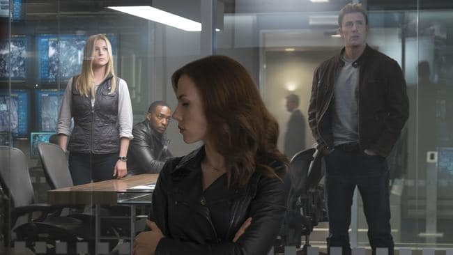 When the superheroes hit the fan in Captain America: Civil War, Mackie's Falcon (seen here in the background with Agent 13, Black Widow and Captain America) sides with Team Cap. Picture: Marvel/Disney