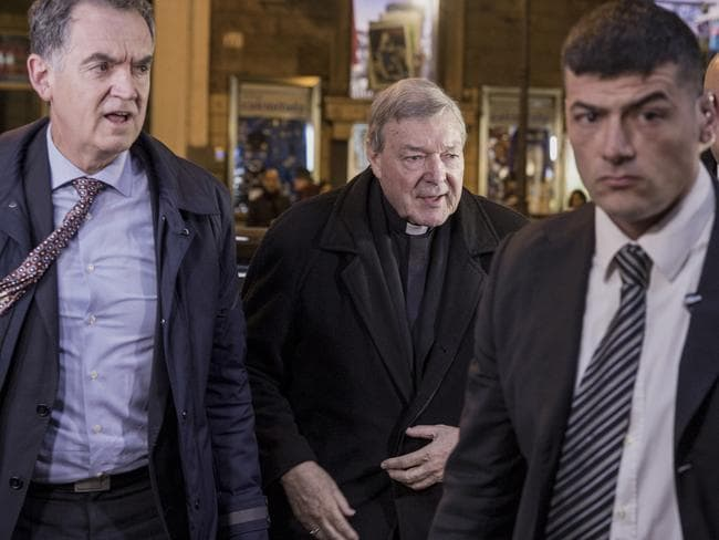 Cardinal Pell arrives at Hotel Quirinale on the last day of the hearing by the Royal Commission. Picture: Ella Pellegrini