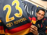 Adelaide champion Andrew McLeod with his famous No. 23 jumper.