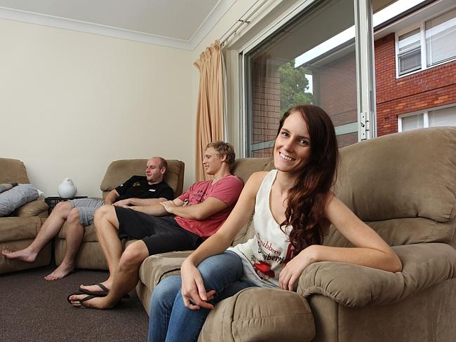 Lauren Ward, boyfriend James Knight and friend Tim Ingram at their Ashfield apartment. Pi