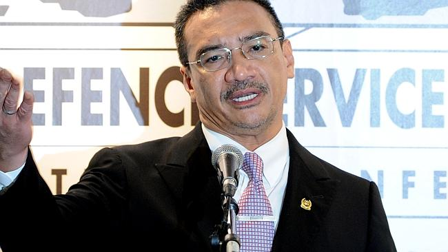 Reassuring families ... Malaysian Minister of Defence and Acting Transport Minister Hishammuddin Hussein answers questions from journalists during a press conference. Picture: Mohd Rasfan