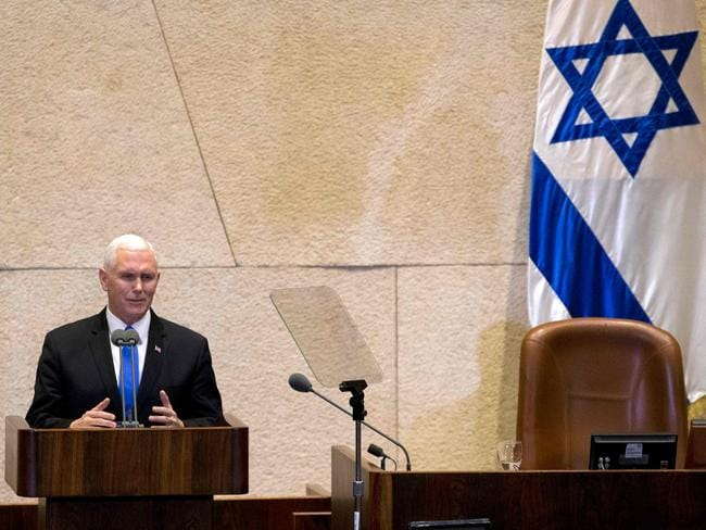 US Vice President Mike Pence addresses the Knesset (Israeli parliament) in Jerusalem. Picture: AFP/Ariel Schalit