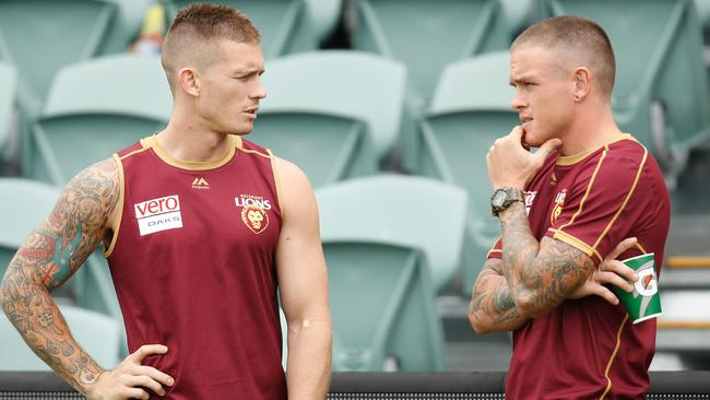 Dayne Beams and Claye Beams together at the Lions. Picture: Getty Images
