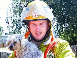 Firefighters have come to the rescue of a puppy while attending a house fire in Leongatha