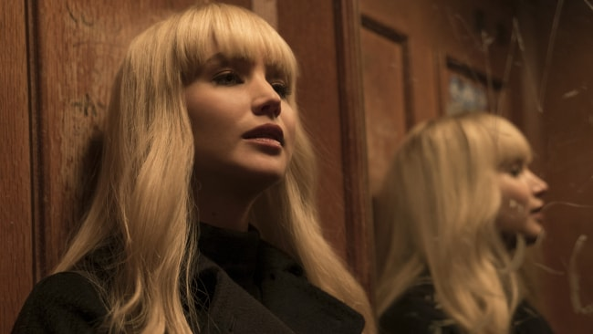 Jennifer Lawrence in a scene from the spy thriller Red Sparrow. 20th Century Fox Films.