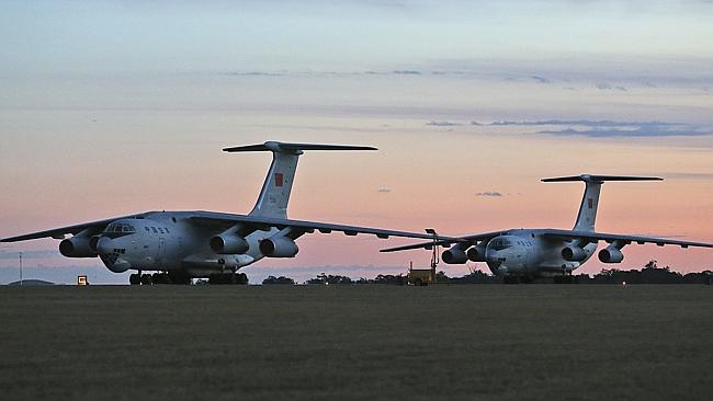 Search effort ... Chinese Ilyushin IL-76s aircraft sit on the tarmac at RAAF Pearce base ready to join the search. Picture: AP
