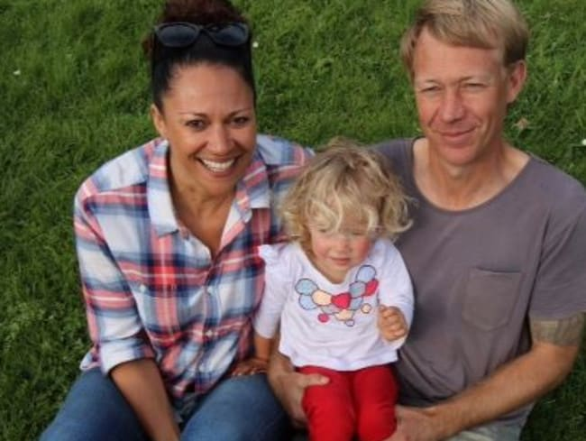 Aminah Hart and partner Scott Andersen with their daughter Leila. Picture: Supplied: Anthony Sines ACS