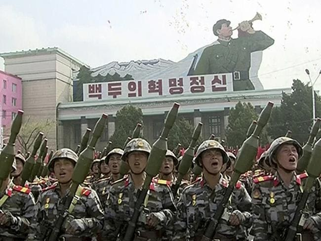 Soldiers take part in a parade at Kim Il Sung Square in Pyongyang. Picture: KRT