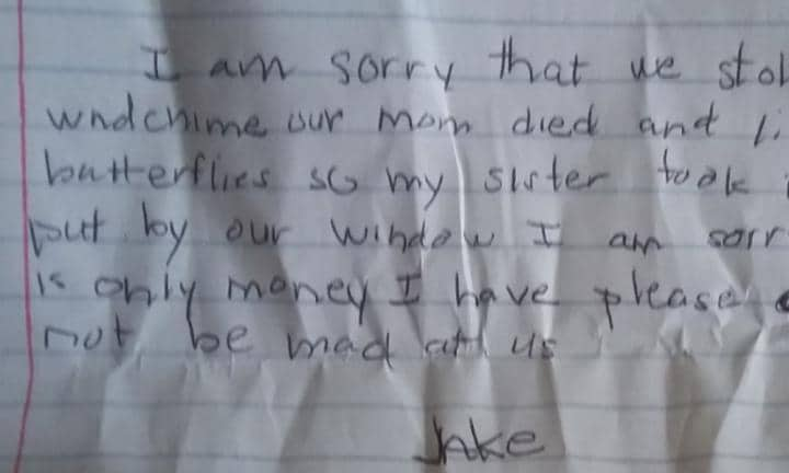 The heartbreaking apology note from a young thief