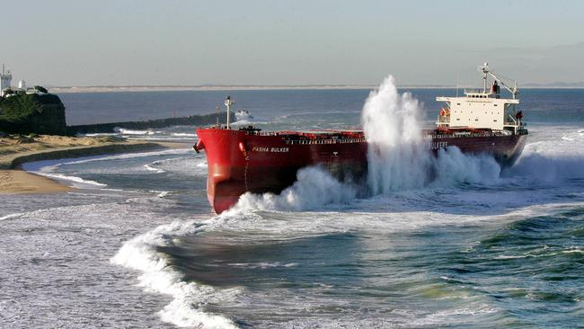 The coal ship Pasha Bulker ran aground in wild storms in 2007, ending up stranded on Nobbys Beach in Newcastle.