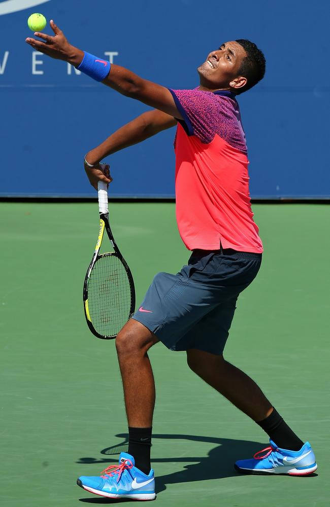 Kyrgios prepares to unleash a serve against Mikhail Youzhny in the first round match of the U.S. Open.