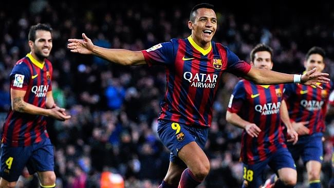 In-form Barcelona striker Alexis Sanchez and Chile will await the Socceroos at Brazil 2014 - as will his Camp Nou teammate, Cesc Fabregas of Spain, left.