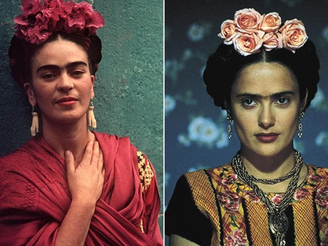 Colourful Mexican artist Frida Kahlo, left, and Salma Hayek in 2002 in the film, Frida. Picture: Supplied