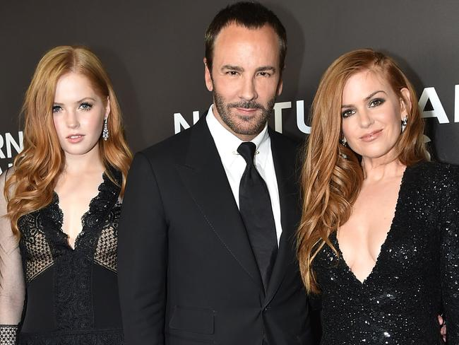 Ellie Bamber, Director Tom Ford and Isla Fisher promote Ford's second film, Nocturnal Animals. Picture: Getty