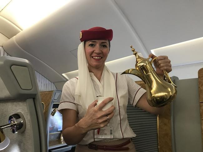 Arabic coffee and fresh dates are served upon boarding in First Class. Picture: Celeste Mitchell