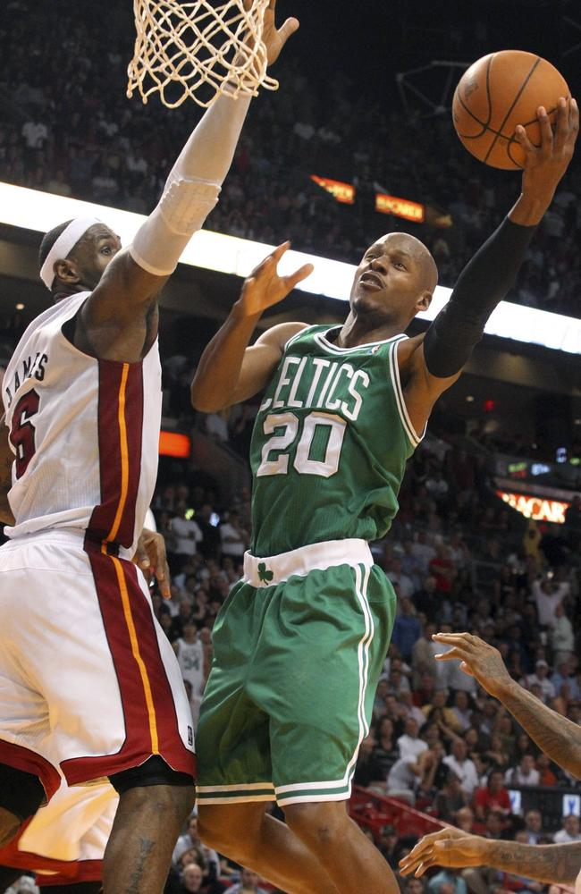 Ray Allen goes to the basket against LeBron James in the Celtics' game against Heat in 2010.
