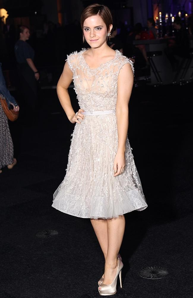 Emma Watson knows The Knee-cross helps to provide a flattering shape. Picture: Getty Images