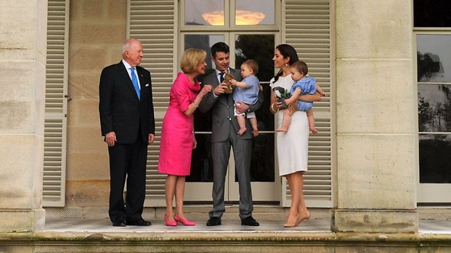 The Governor General Quentin Bryce, second from left, and her husband Michael, left, welcome Denmark's Crown Prince Frederik, second from right, and Australian-born Crown Princess Mary, right, with their twins Princess Josephine (held by Mary) and Prince Vincent (held by Frederik) to Admiralty House in Sydney. Picture: AFP