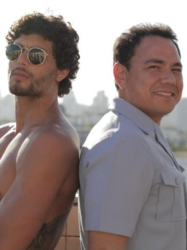 Sam Pang, right, with Brazilian model Jesus Luz in  <i>A Pang For Brasil</i>.
