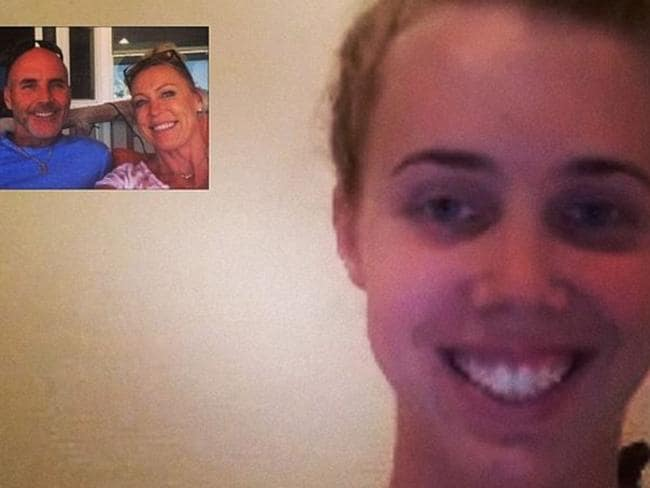 Still friends ... Lisa Curry and Grant Kenny on Skype with their daughter Morgan. Picture: Instagram/Lisa Curry